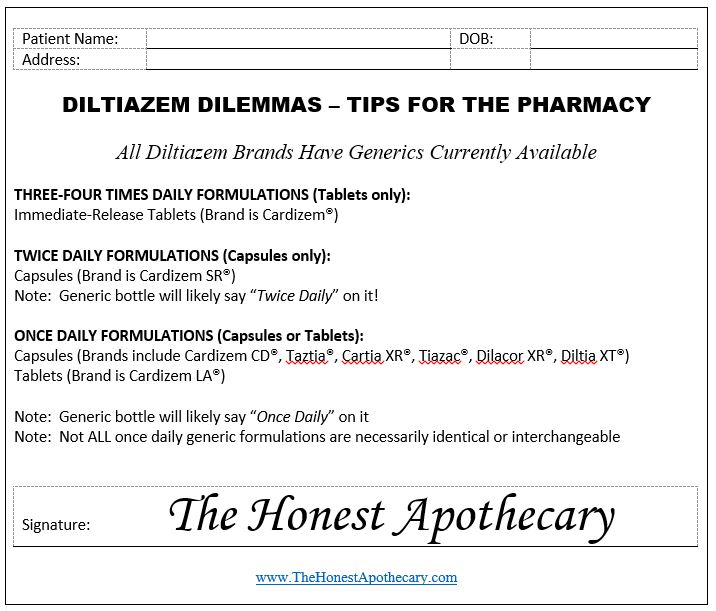 Diltiazem Tips Prescription